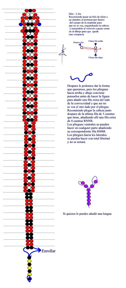 Как сплести из бисера объемную змею схема